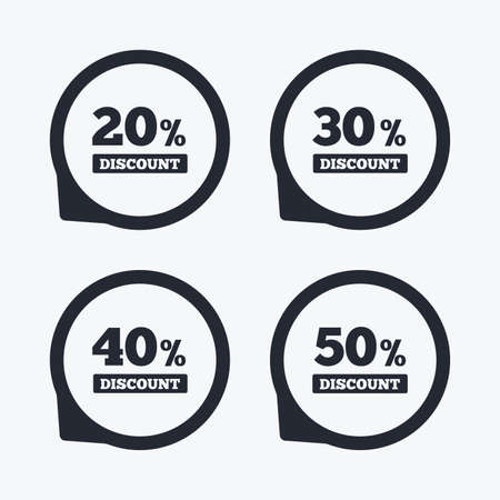 30 to 40: Sale discount icons. Special offer price signs. 20, 30, 40 and 50 percent off reduction symbols. Flat icon pointers.