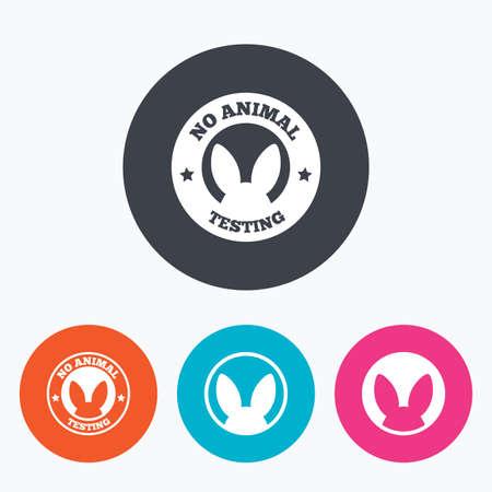 Keine Tierversuche Icons. Nicht-menschliche Experimente unterzeichnet Symbole. Kreis flache Tasten mit Symbol.