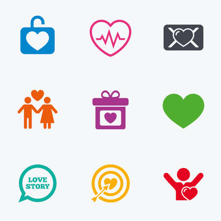 oath: Love, valentine day icons. Target with heart, oath letter and locker symbols. Couple lovers, heartbeat signs. Flat colored graphic icons. Illustration