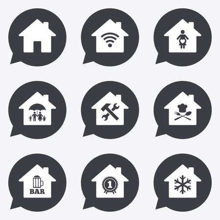 speech bubble hospital: Real estate icons. Home insurance, maternity hospital and wifi internet signs. Restaurant, service and air conditioning symbols. Flat icons in speech bubble pointers.