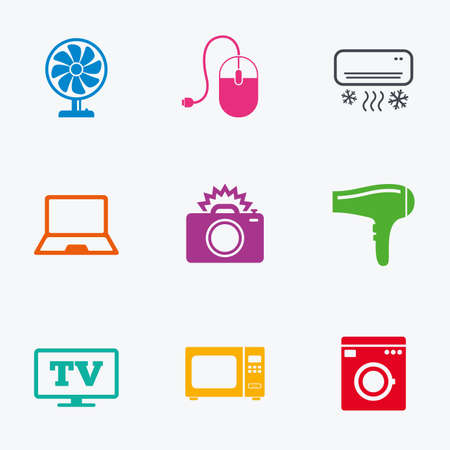 ventilator: Home appliances, device icons. Electronics signs. Air conditioning, washing machine and ventilator symbols. Flat colored graphic icons.