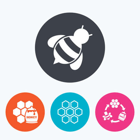 Honey icon. Honeycomb cells with bees symbol. Sweet natural food signs. Circle flat buttons with icon. Illustration