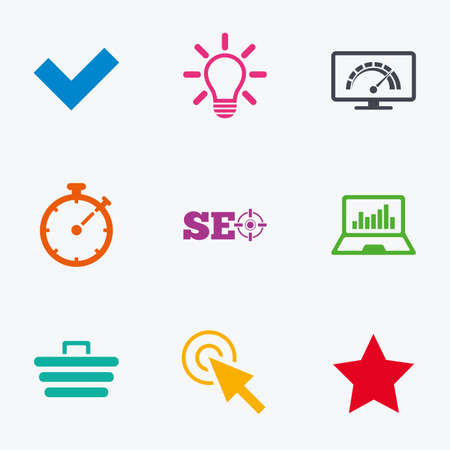 bandwidth: Internet, seo icons. Bandwidth speed, online shopping and tick signs. Favorite star, notebook chart symbols. Flat colored graphic icons.