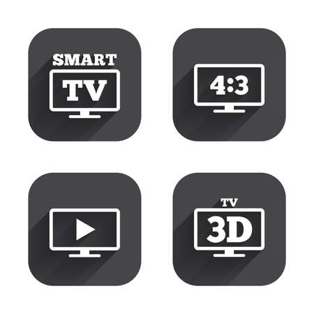 3d mode: Smart TV mode icon. Aspect ratio 4:3 widescreen symbol. 3D Television sign. Square flat buttons with long shadow.