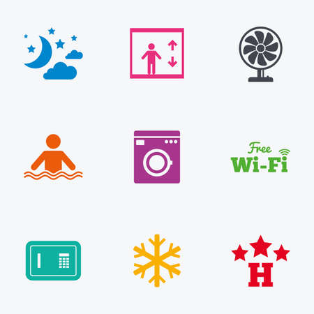 strongbox: Hotel, apartment service icons. Washing machine. Wifi, air conditioning and swimming pool symbols. Flat colored graphic icons.