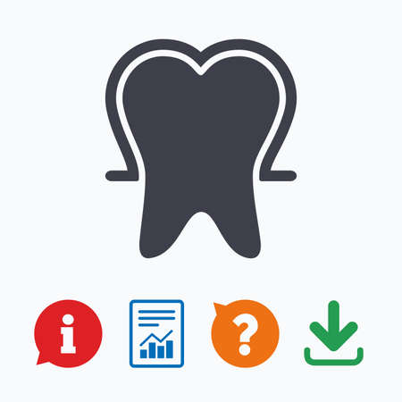 enamel: Tooth enamel protection sign icon. Dental toothpaste care symbol. Healthy teeth. Information think bubble, question mark, download and report.