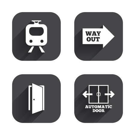 way out: Train railway icon. Automatic door symbol. Way out arrow sign. Square flat buttons with long shadow. Illustration