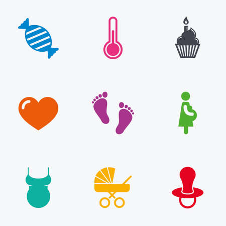 baby footprint: Pregnancy, maternity and baby care icons. Candy, baby carriage and pacifier signs. Footprint, cake and thermometer symbols. Flat colored graphic icons.