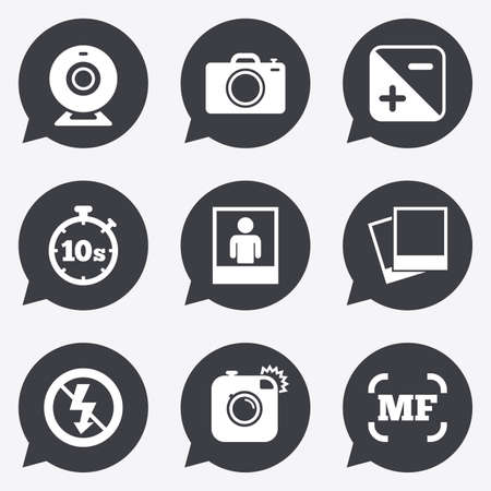 web camera: Photo, video icons. Web camera, photos and frame signs. No flash, timer and portrait symbols. Flat icons in speech bubble pointers.