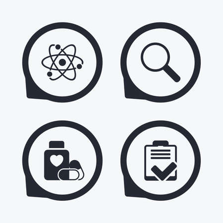 pills bottle: Medical icons. Atom, magnifier glass, checklist signs. Medical heart pills bottle symbol. Pharmacy medicine drugs. Flat icon pointers.