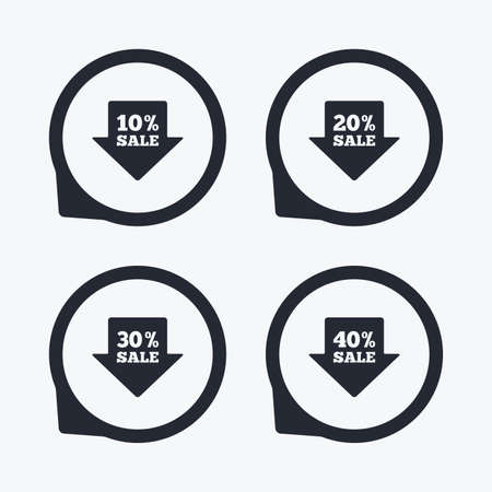 20 30: Sale arrow tag icons. Discount special offer symbols. 10%, 20%, 30% and 40% percent sale signs. Flat icon pointers.