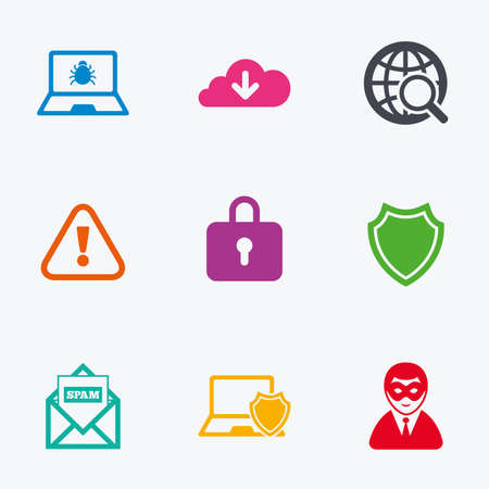 anonymous: Internet privacy icons. Cyber crime signs. Virus, spam e-mail and anonymous user symbols. Flat colored graphic icons.