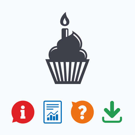 burning: Birthday cake sign icon. Cupcake with burning candle symbol. Information think bubble, question mark, download and report.