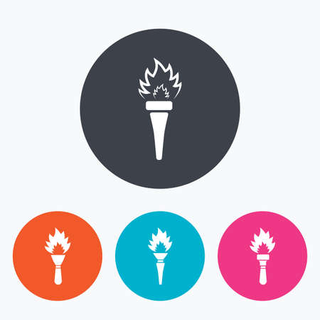 torch light: Torch flame icons. Fire flaming symbols. Hand tool which provides light or heat. Circle flat buttons with icon.
