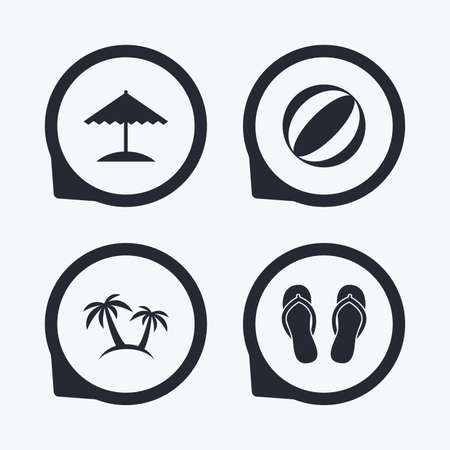 flipflops: Beach holidays icons. Ball, umbrella and flip-flops sandals signs. Palm trees symbol. Flat icon pointers.