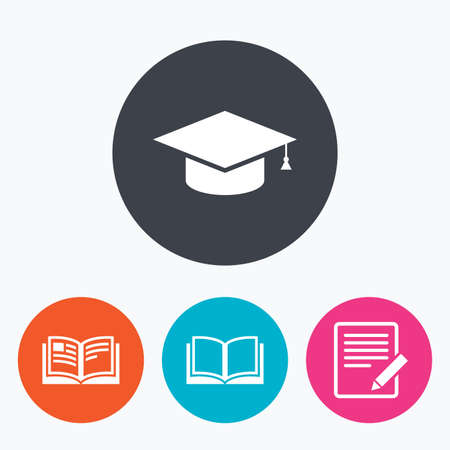 higher: Pencil with document and open book icons. Graduation cap symbol. Higher education learn signs. Circle flat buttons with icon.