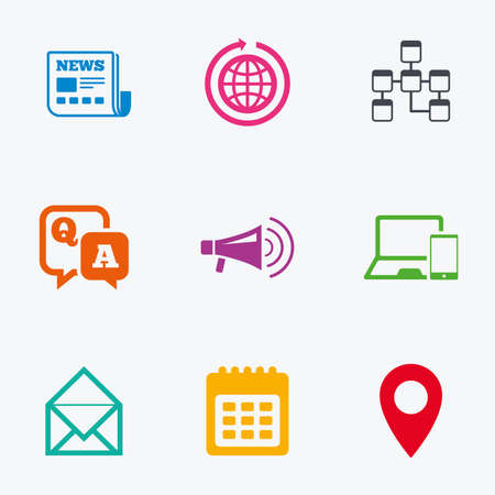 Communication Icons News Chat Messages And Calendar Signs