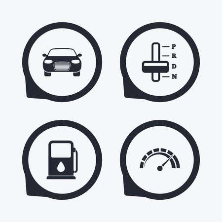 automatic transmission: Transport icons. Car tachometer and automatic transmission symbols. Petrol or Gas station sign. Flat icon pointers.