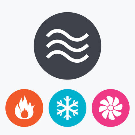HVAC icons. Heating, ventilating and air conditioning symbols. Water supply. Climate control technology signs. Circle flat buttons with icon. Illustration