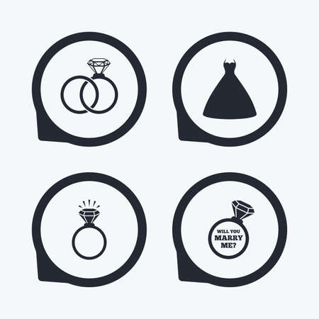 fiance: Wedding dress icon. Bride and groom rings symbol. Wedding or engagement day ring shine with diamond sign. Will you marry me? Flat icon pointers. Illustration