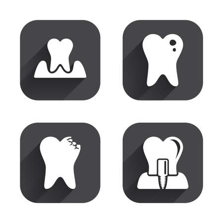 gingivitis: Dental care icons. Caries tooth sign. Tooth endosseous implant symbol. Parodontosis gingivitis sign. Square flat buttons with long shadow. Illustration