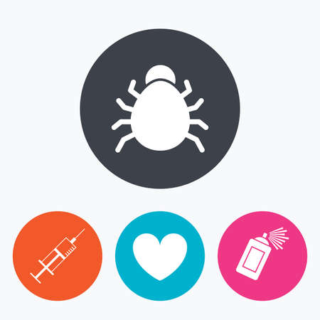 acarus: Bug and vaccine syringe injection icons. Heart and spray can sign symbols. Circle flat buttons with icon.