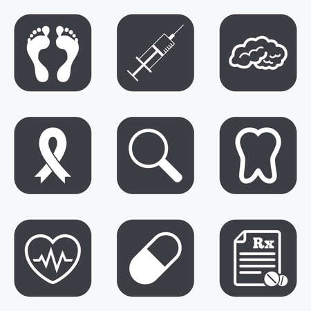 cancer foot: Medicine, medical health and diagnosis icons. Syringe injection, heartbeat and pills signs. Tooth, neurology symbols. Flat square buttons with rounded corners.