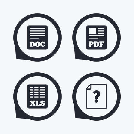 xls: File document and question icons. XLS, PDF and DOC file symbols. Download or save doc signs. Flat icon pointers.