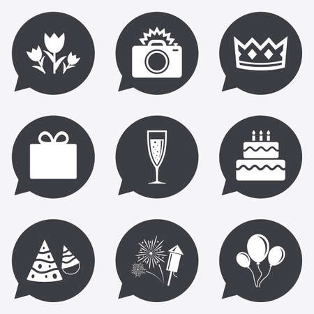 champagne celebration: Party celebration, birthday icons. Fireworks, air balloon and champagne glass signs. Gift box, flowers and photo camera symbols. Flat icons in speech bubble pointers.