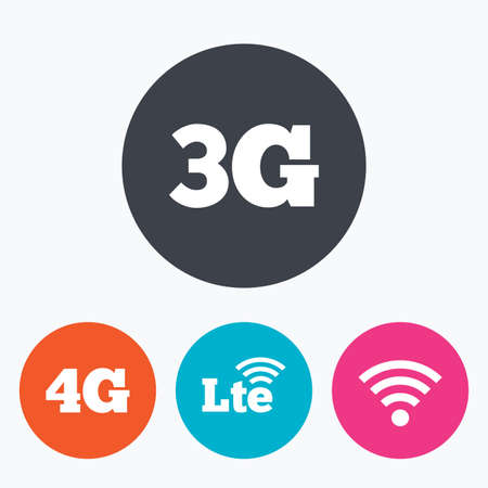 3g: Mobile telecommunications icons. 3G, 4G and LTE technology symbols. Wi-fi Wireless and Long-Term evolution signs. Circle flat buttons with icon.