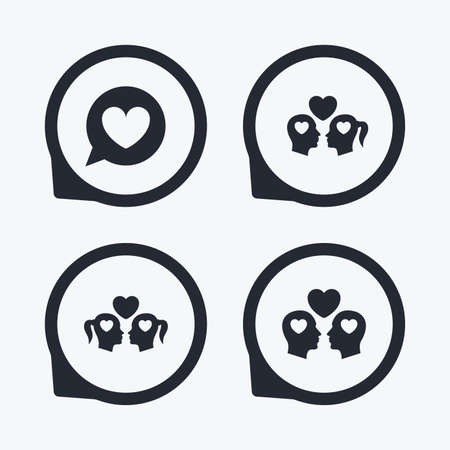 sex positions: Couple love icon. Lesbian and Gay lovers signs. Romantic homosexual relationships. Speech bubble with heart symbol. Flat icon pointers.