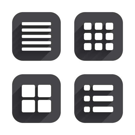 thumbnails: List menu icons. Content view options symbols. Thumbnails grid or Gallery view. Square flat buttons with long shadow.