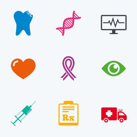 awareness ribbon: Medicine, healthcare and diagnosis icons. Tooth, syringe and ambulance signs. Dna, awareness ribbon symbols. Flat colored graphic icons.