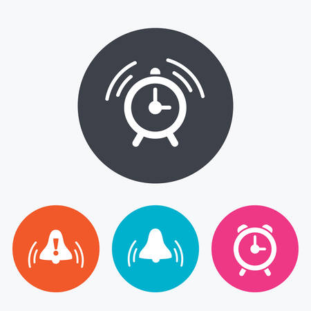 rang: Alarm clock icons. Wake up bell signs symbols. Exclamation mark. Circle flat buttons with icon.