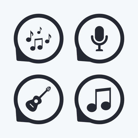 karaoke: Music icons. Microphone karaoke symbol. Music notes and acoustic guitar signs. Flat icon pointers.