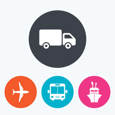 mail truck: Transport icons. Truck, Airplane, Public bus and Ship signs. Shipping delivery symbol. Air mail delivery sign. Circle flat buttons with icon.