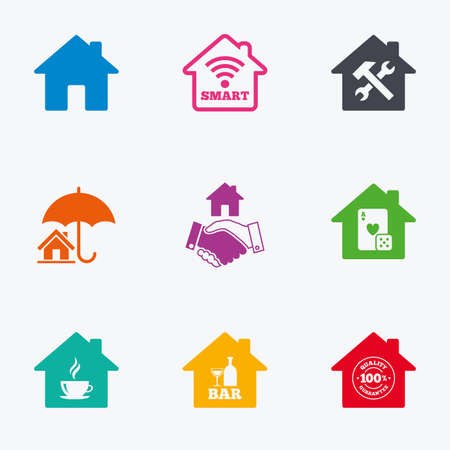 Real estate icons. House insurance, broker and casino with bar signs. Handshake deal, coffee and smart house symbols. Flat colored graphic icons. Vector Illustration