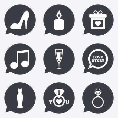 diamond candle: Wedding, engagement icons. Ring with diamond, gift box and music signs. Dress, shoes and champagne glass symbols. Flat icons in speech bubble pointers.
