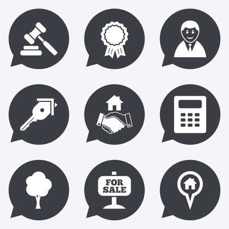 auction: Real estate, auction icons. Handshake, for sale and calculator signs. Key, tree and award medal symbols. Flat icons in speech bubble pointers. Illustration