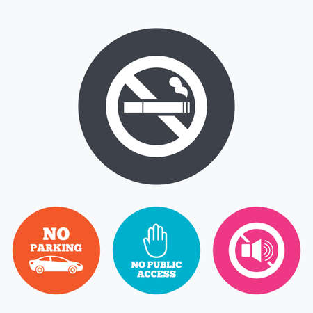 private access: Stop smoking and no sound signs. Private territory parking or public access. Cigarette and hand symbol. Circle flat buttons with icon.