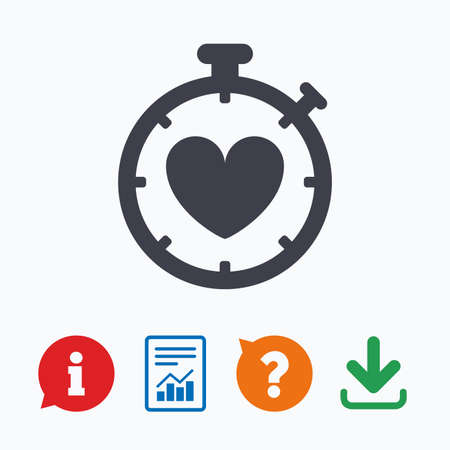 palpitation: Heart Timer sign icon. Stopwatch symbol. Heartbeat palpitation. Information think bubble, question mark, download and report. Illustration