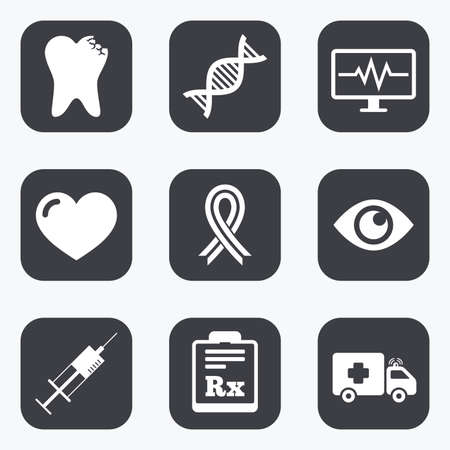 awareness ribbon: Medicine, healthcare and diagnosis icons. Tooth, syringe and ambulance signs. Dna, awareness ribbon symbols. Flat square buttons with rounded corners.