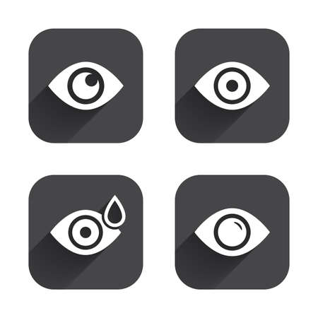 red eye: Eye icons. Water drops in the eye symbols. Red eye effect signs. Square flat buttons with long shadow. Illustration
