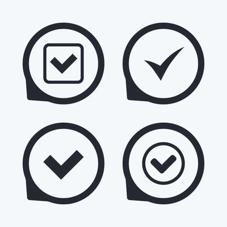 confirm: Check icons. Checkbox confirm circle sign symbols. Flat icon pointers.