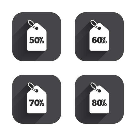 50 to 60: Sale price tag icons. Discount special offer symbols. 50%, 60%, 70% and 80% percent discount signs. Square flat buttons with long shadow. Illustration