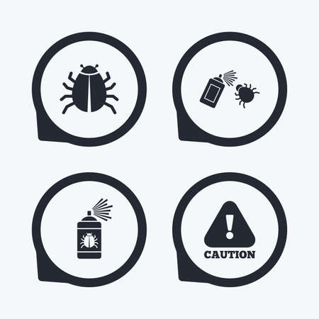 insanitary: Bug disinfection icons. Caution attention symbol. Insect fumigation spray sign. Flat icon pointers. Illustration