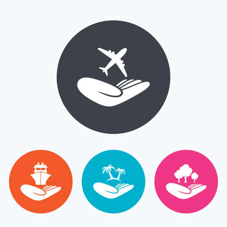 helping: Helping hands icons. Travel flight or shipping insurance symbol. Palm tree sign. Save nature forest. Circle flat buttons with icon. Illustration