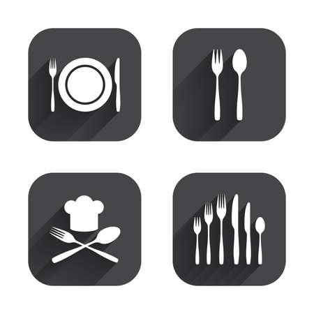 プレート皿フォークとナイフのアイコン。チーフ ハット記号。斜め刃物シンボル。デザート フォーク。正方形の長い影とフラットなボタン。  イラスト・ベクター素材
