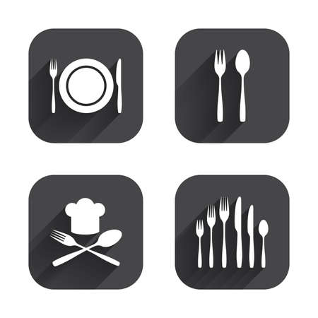Plate dish with forks and knifes icons. Chief hat sign. Crosswise cutlery symbol. Dessert fork. Square flat buttons with long shadow. Illustration