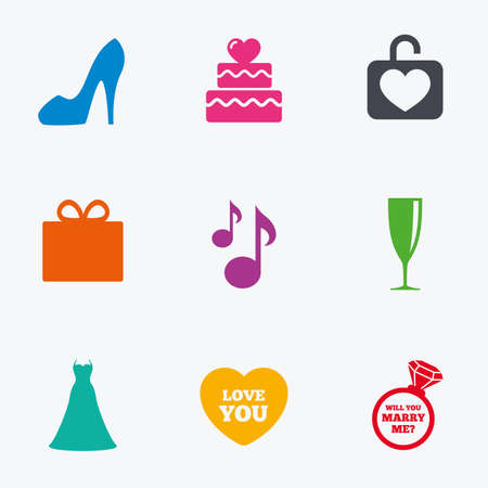brilliant heart: Wedding, engagement icons. Cake with heart, gift box and brilliant signs. Dress, shoes and musical notes symbols. Flat colored graphic icons. Illustration
